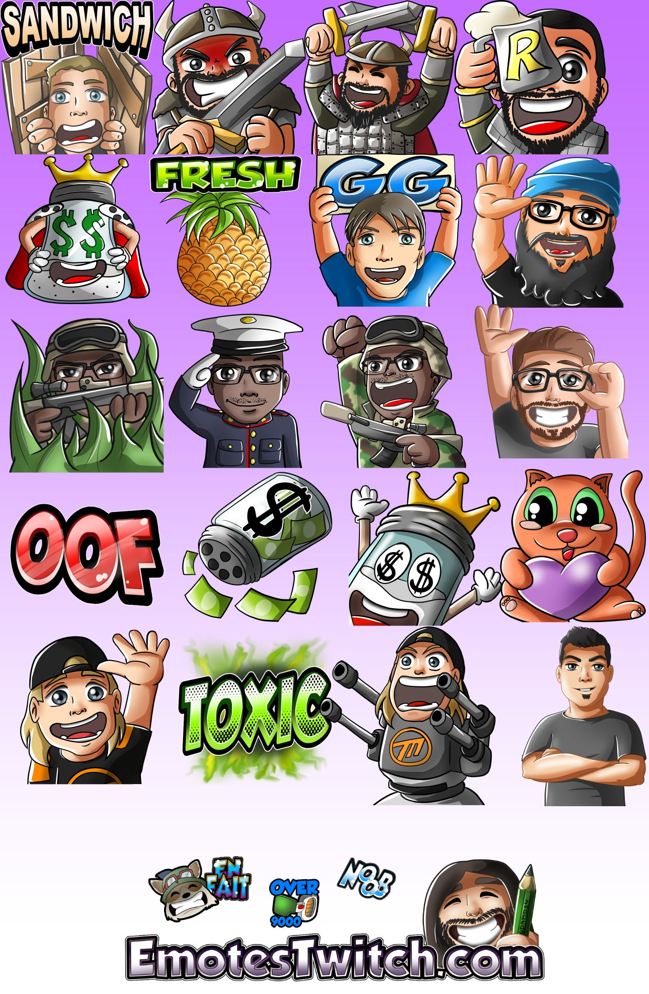 Twitch emotes again: vikings, marines and pineapple - Custom