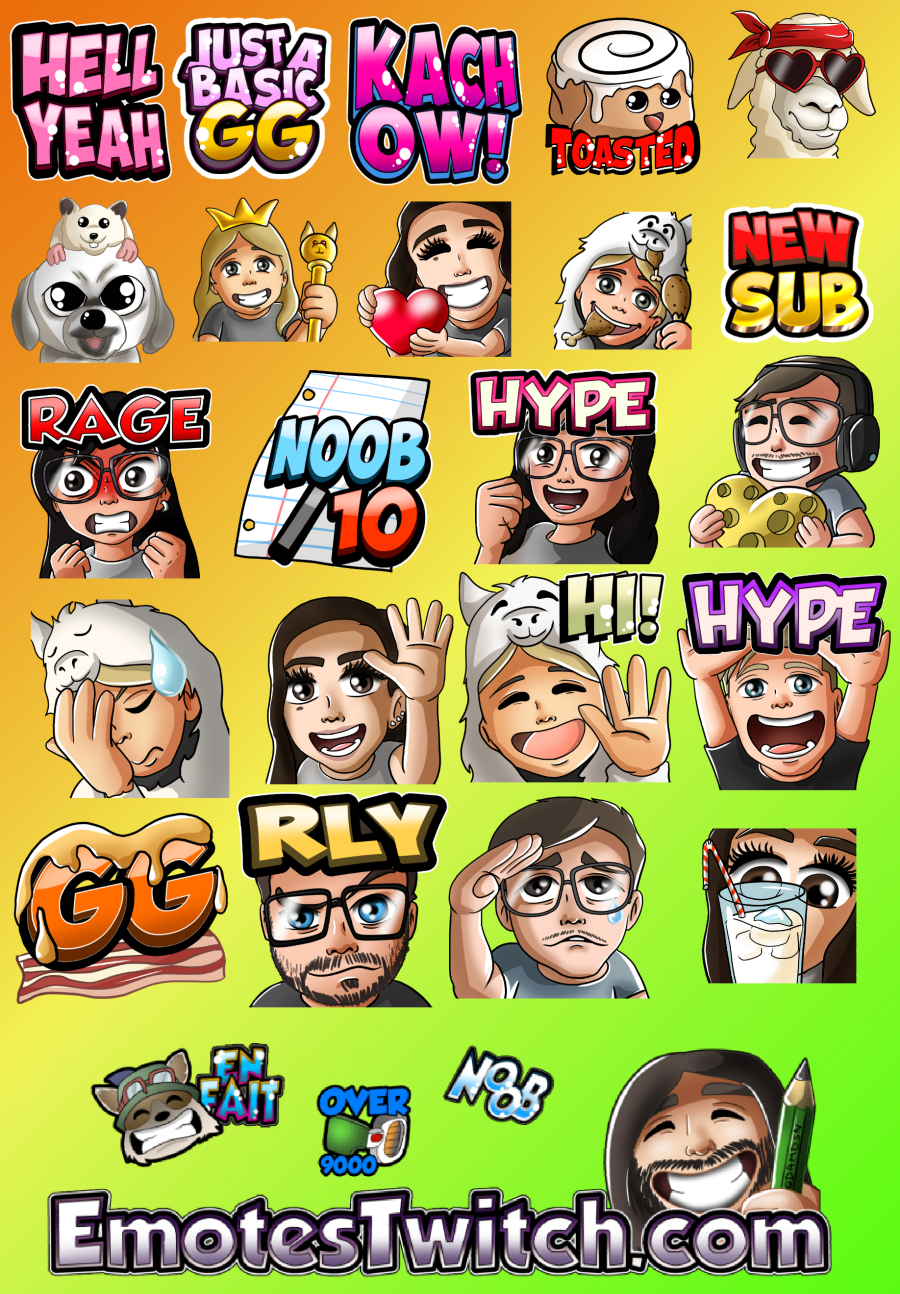 Various custom twitch emotes - Custom emotes and badges for Streamers