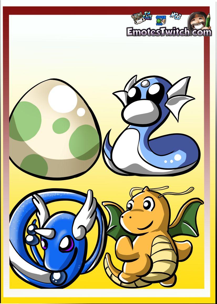 Pokemon Dragonite cute chibi twitch emote - Custom emotes and badges